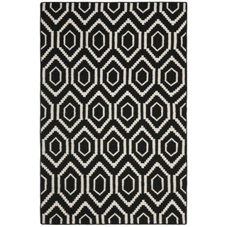 Safavieh Hand-woven Moroccan Reversible Dhurrie Black Wool Rug (10' x 14')