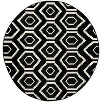 Safavieh Hand-woven Moroccan Reversible Dhurrie Black Wool Rug - 8' x 8' Round