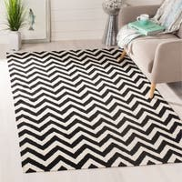 Safavieh Hand-woven Moroccan Reversible Dhurrie Chevron Black Wool Rug - 10' x 14'
