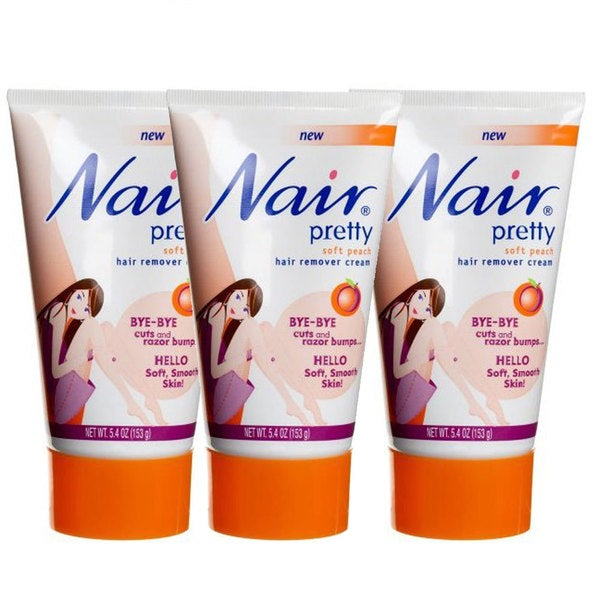 Nair Pretty Soft Peach Hair Remover Cream 5.4-ounce Tubes (Pack of 3)