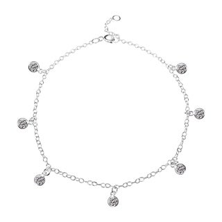 Handmade Round Cubic Zirconia Dangle Link Silver Anklet (Thailand)