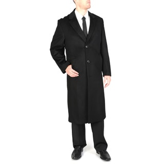 Pronto Moda Men's 'Harvard' Black Wool-cashmere Full-length Coat
