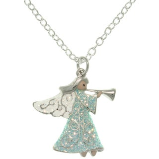 Pewter Angel with Trumpet Enameled Charm Necklace