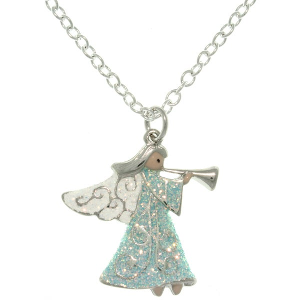Carolina Glamour Collection Pewter Angel with Trumpet Enameled Charm Necklace