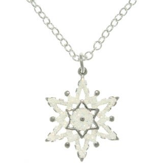 Carolina Glamour Collection Pewter White Enamel Glittering Snowflake Charm Necklace