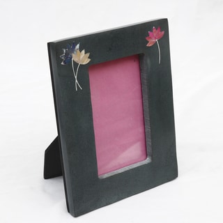Lotus Engraved Soapstone Photo Frame (India)