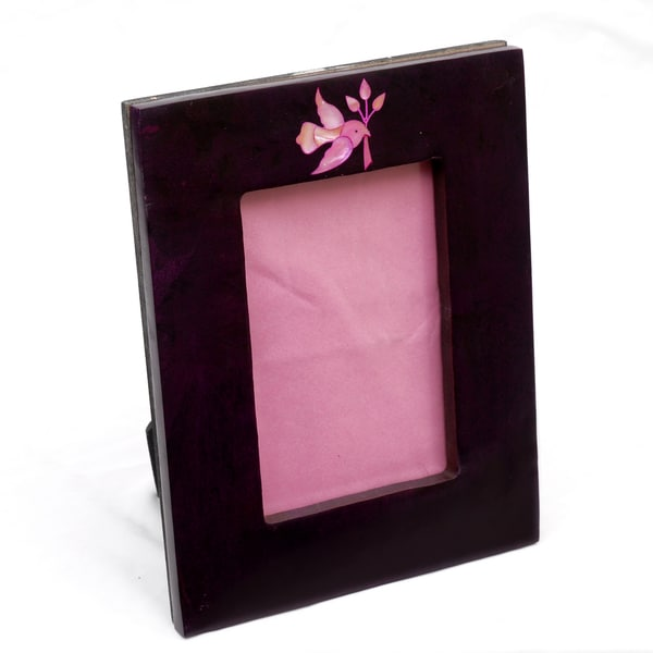 Engraved Soapstone Photo Frame with Hand-carved Bird (India)