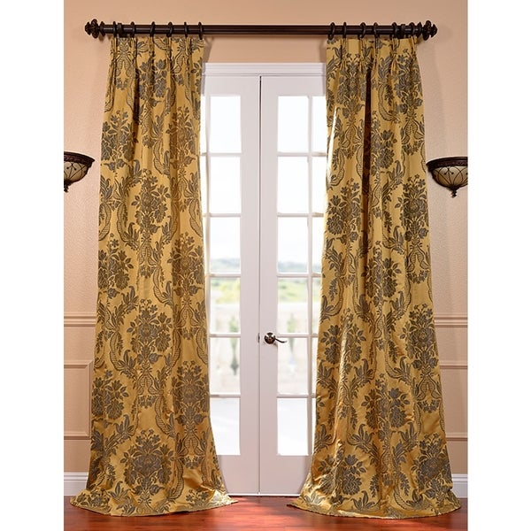 Exclusive Fabrics Magdelena Gold and Blue Faux Silk Jacquard French Pleated Curtain Panel