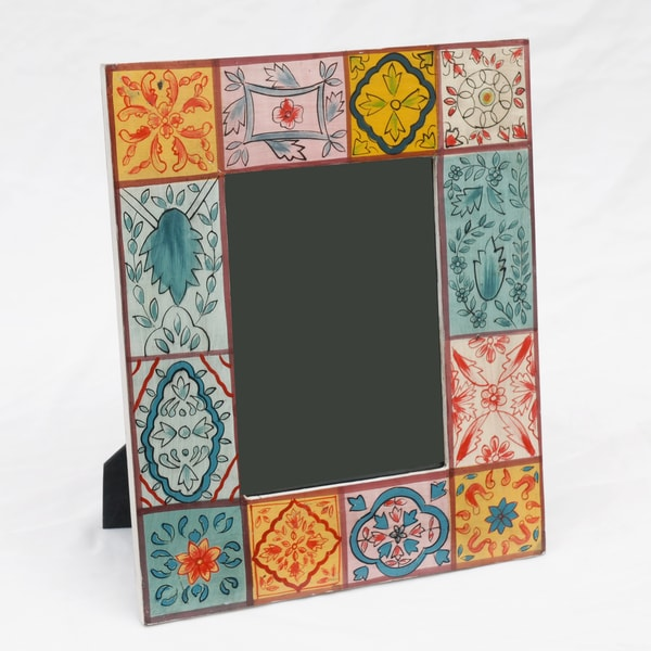 Mango Wood Photo Frame with Motifs , Handmade in India