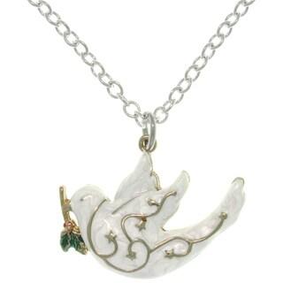 Pewter White Enamel Peace Dove Charm Necklace