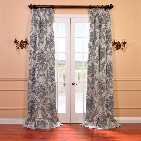 Exclusive Fabrics Magdelena Silver and Blue Faux Silk Jacquard French Pleated Curtains