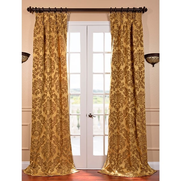 Exclusive Fabrics Astoria Gold and Bronze Faux Silk Jacquard French Pleated Curtains
