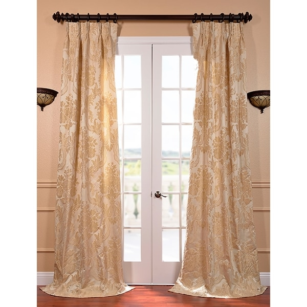 Exclusive Fabrics Magdelena Champagne Faux Silk Jacquard French Pleated Curtains