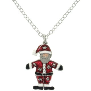 Pewter Enamel Holiday Santa Claus Charm Necklace