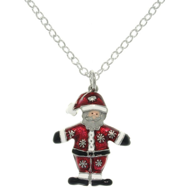 Carolina Glamour Collection Pewter Enamel Holiday Santa Claus Charm Necklace