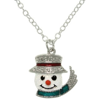 Pewter Enamel Frosted Snowman Charm Necklace
