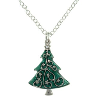 Carolina Glamour Collection Pewter Crystal and Enamel Holiday Star-decorated Tree Charm Necklace