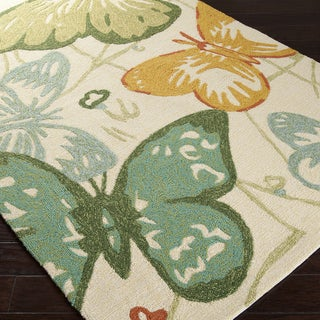 Hand-hooked Eustis Indoor/Outdoor Butterflies Rug