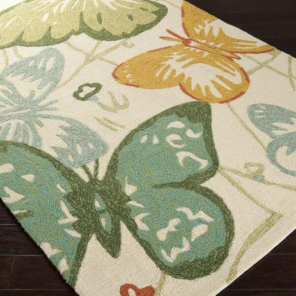 Hand-hooked Eustis Indoor/Outdoor Butterflies Rug