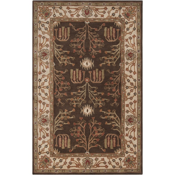 Hand-tufted Brown/Beige Traditional Bordered Endeavor New Zealand Wool Rug