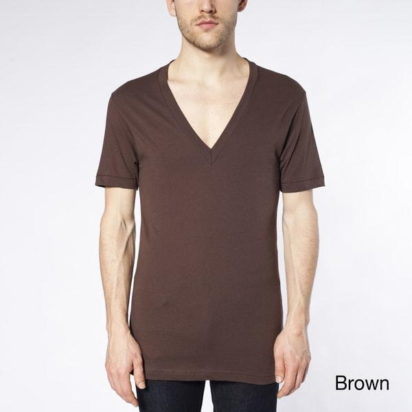 American Apparel Men's Brown Sheer Jersey Deep V-Neck Tee