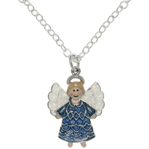 Carolina Glamour Collection Pewter Enamel Joyful Angel Charm Necklace