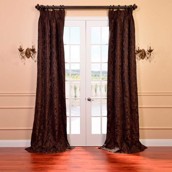 Exclusive Fabrics Medici Black and Pewter Faux Silk Jacquard French Pleated Curtains