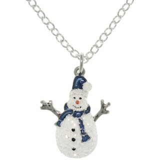 Carolina Glamour Collection Pewter Enamel Holiday Glittered Snowman Charm Necklace