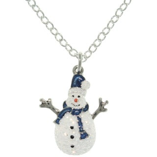 Pewter Enamel Holiday Glittered Snowman Charm Necklace