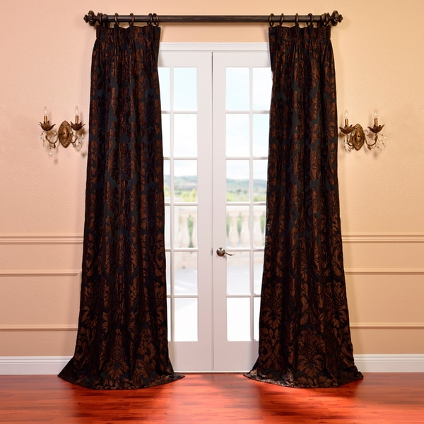 Exclusive Fabrics Astoria Black and Cognac Faux Silk Jacquard French Pleated Curtains