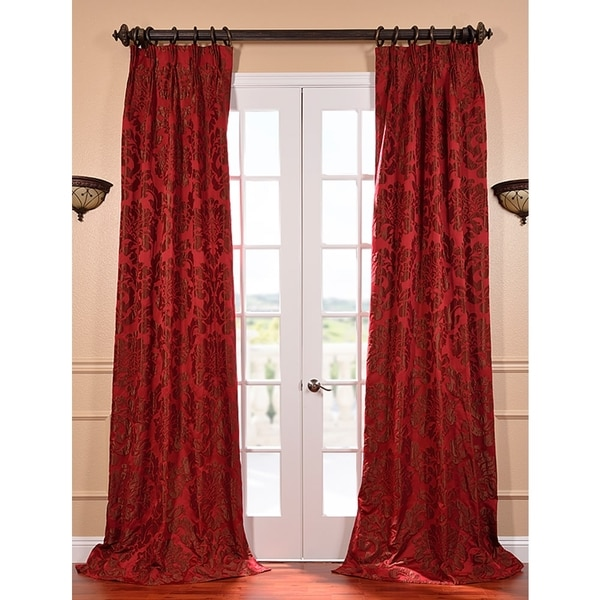 Exclusive Fabrics Astoria Red and Bronze Faux Silk Jacquard French Pleated Curtains