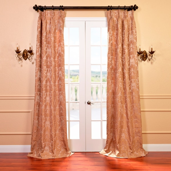 Exclusive Fabrics Genevieve Warm Taupe Faux Silk Jacquard French Pleated Curtain Panel