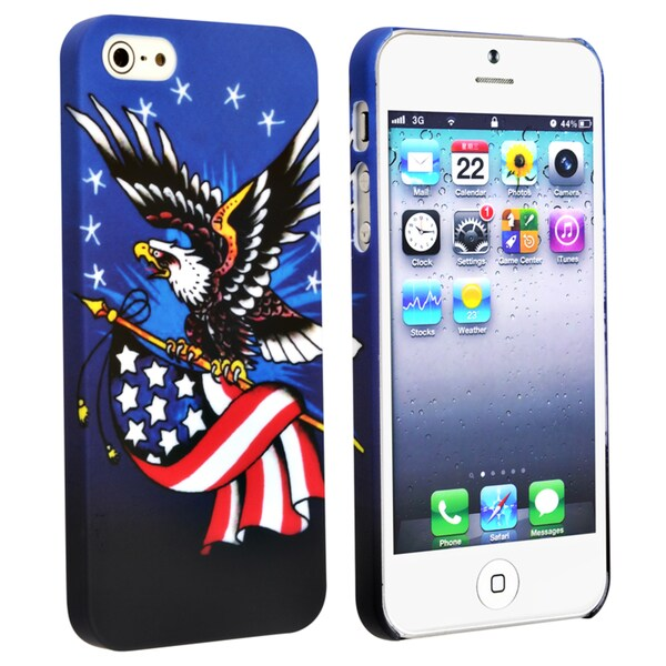 BasAcc Blue/ US Flag Snap-on Rubber Coated Case for Apple® iPhone 5