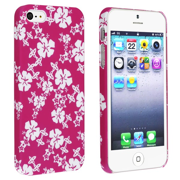 INSTEN Pink/ White Snap-on Rubber Coated Phone Case Cover for Apple iPhone 5