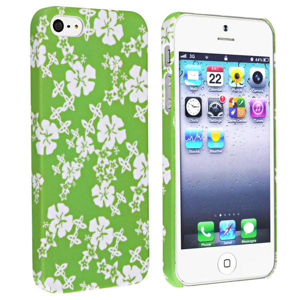 INSTEN Green/ White Snap-on Rubber Coated Phone Case Cover for Apple iPhone 5