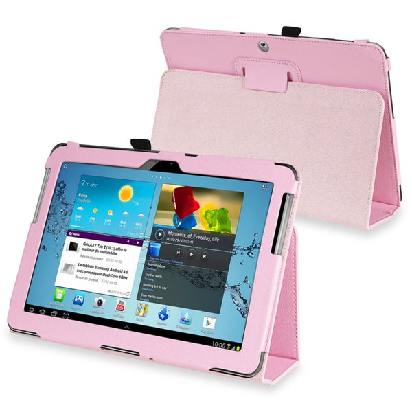 BasAcc Pink Leather Case for Samsung Galaxy Tab 2 P5100/P5110/10.1-Inch