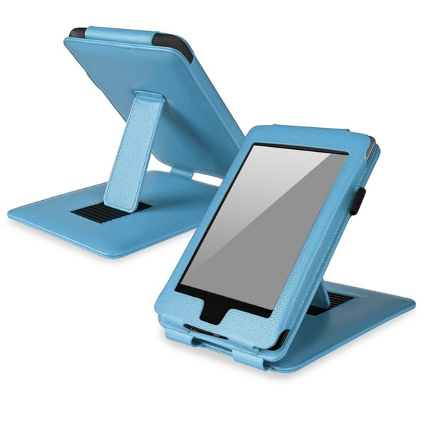 BasAcc Light Blue Leather Case with Stand for Amazon Kindle Paperwhite