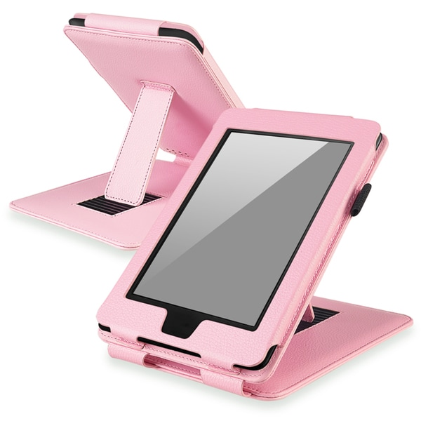 BasAcc Pink Leather Case with Stand for Amazon Kindle Paperwhite