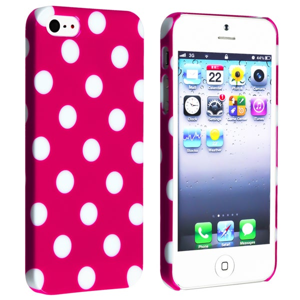 INSTEN Hot Pink with White Dot Snap-on Phone Case Cover for Apple iPhone 5/ 5S