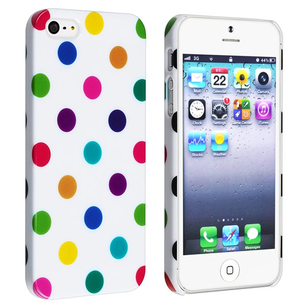 INSTEN White with Colorful Dot Snap-on Phone Case Cover for Apple iPhone 5