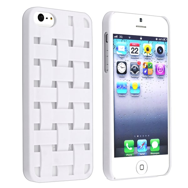 INSTEN White Criss Cross Rubber Coated Phone Case Cover for Apple iPhone 5/ 5S