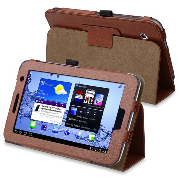 INSTEN Brown Leather Phone Case Cover for SAM GLX Tab2 P3100/ P3110/ P3113/ 7.0