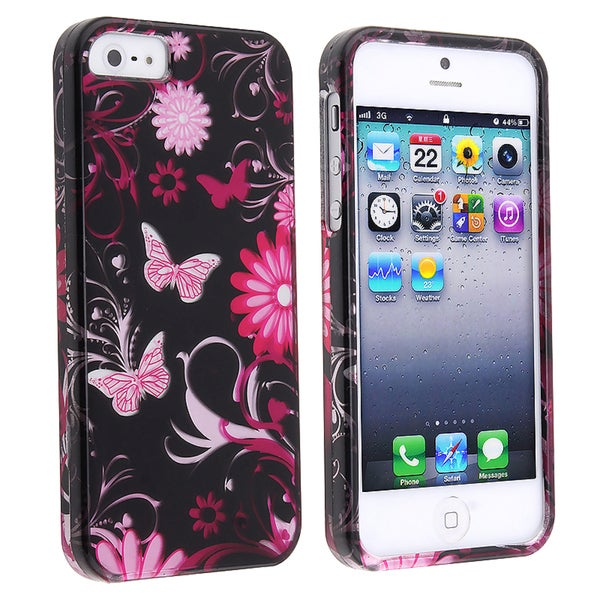 BasAcc Pink Butterfly Snap-on Case for Apple iPhone 5