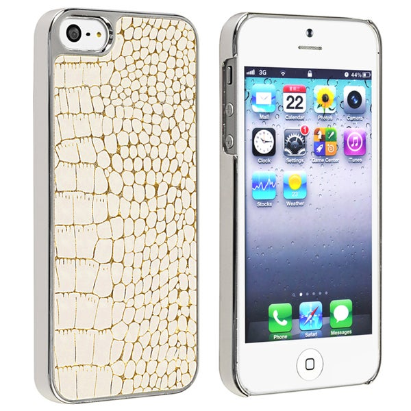 BasAcc Chrome/ White Crocodile Snap-on Case for Apple iPhone 5