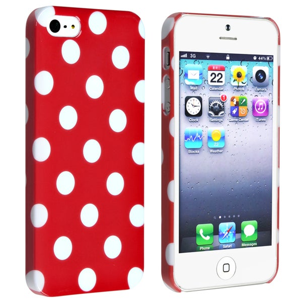 BasAcc Red with White Dot Snap-on Case for Apple iPhone 5