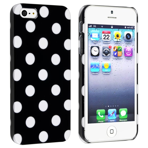INSTEN Black with White Dot Snap-on Phone Case Cover for Apple iPhone 5/ 5S