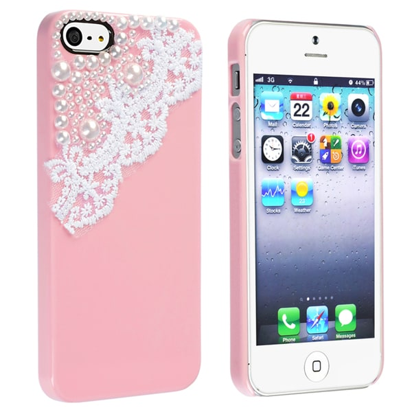 BasAcc Pink with Lace and Pearl Snap-on Case for Apple iPhone 5