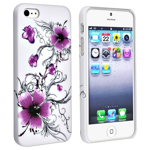 BasAcc White/ Flower Snap-on Rubber Coated Case for Apple iPhone 5