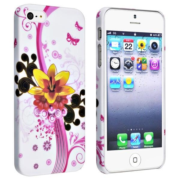 BasAcc White/Flower Snap-On Rubber-Coated Protective Case for Apple iPhone 5