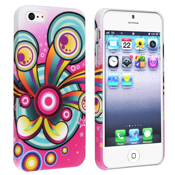 BasAcc Pink/ Circle Snap-on Rubber Coated Case for Apple® iPhone 5